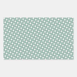 Retro Seafoam Green Sun Dots Pattern Rectangular Sticker