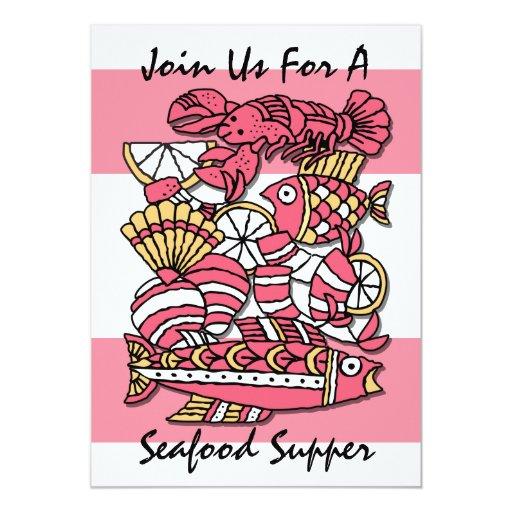 Retro Seafood Invitation