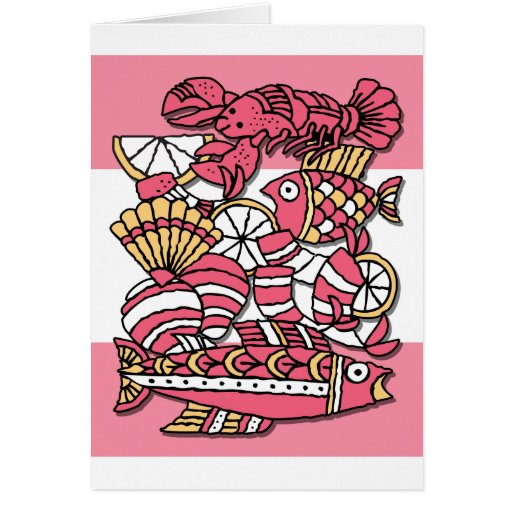 Retro Seafood Note Cards