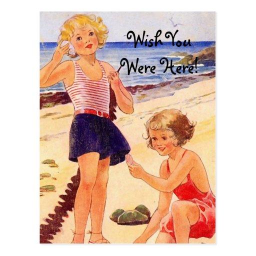 Retro Seashore Postcard