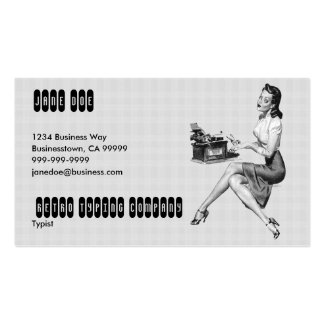 Retro Secretary B/W Double-Sided Standard Business Cards (Pack Of 100)