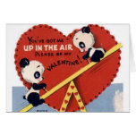 Retro See Saw Panda Bear Valentine's Day Card