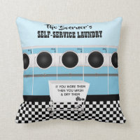 Retro Self-service Laundry They Do The Work Throw Pillow