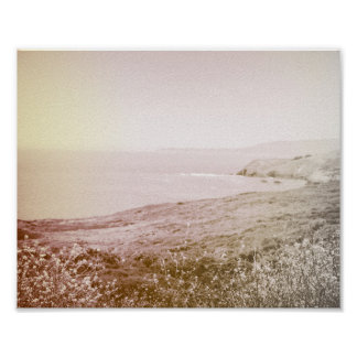 Retro Sepia California Coast   Poster