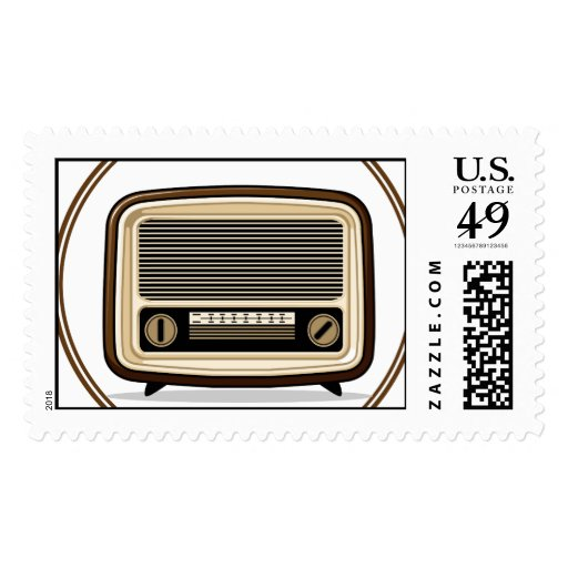 Retro Set - Old Radio Postage Stamp