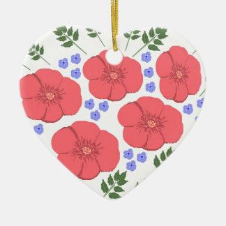 Retro Seventies floral design Ceramic Ornament