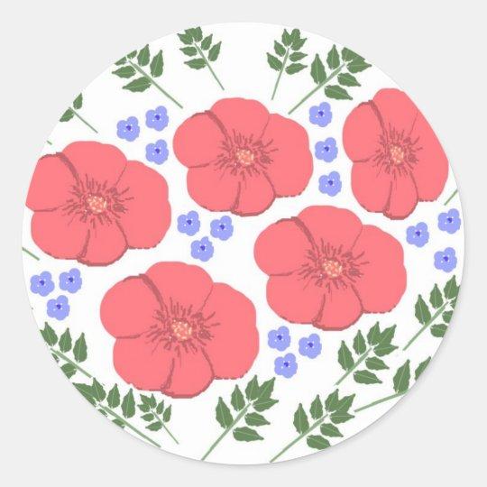 Retro Seventies floral design Classic Round Sticker