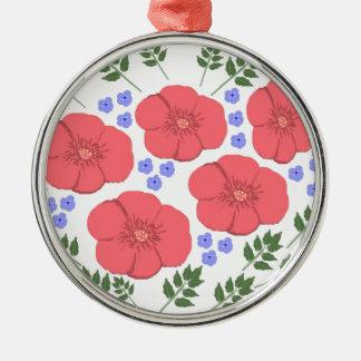 Retro Seventies floral design Metal Ornament