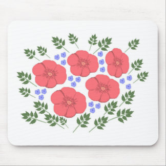 Retro Seventies floral design Mouse Pad