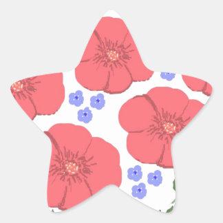 Retro Seventies floral design Star Sticker