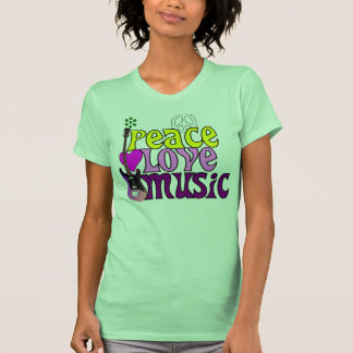 Retro seventies peace love music shirt