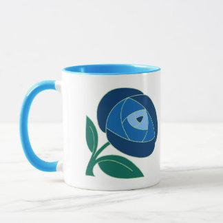 Retro Seventies style rose flower blue Mug
