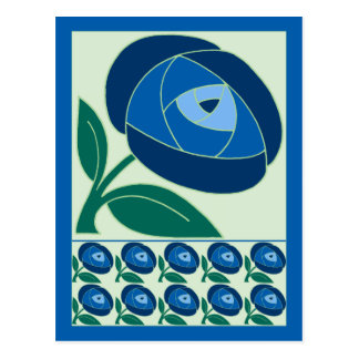 Retro Seventies style rose flower blue Postcard