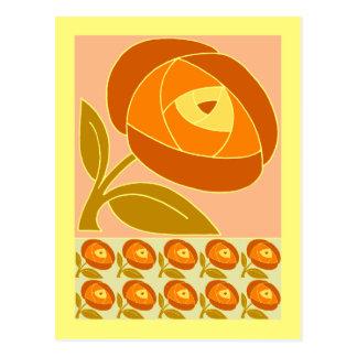 Retro Seventies style rose flower orange Postcard