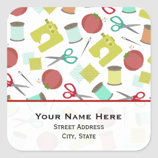 Retro Sewing Themed  Address Sticker