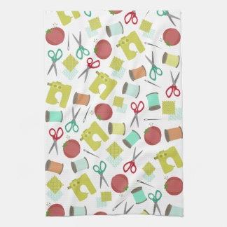 Retro Sewing Themed Kitchen Towel