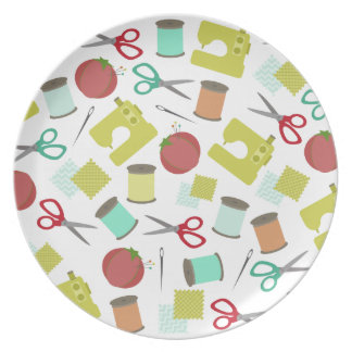 Retro Sewing Themed Melamine Plate