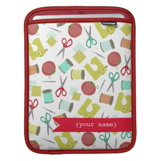 Retro Sewing Themed Personalized iPad Sleeve