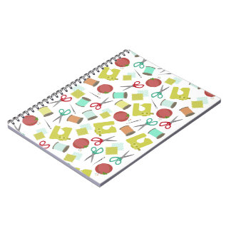 Retro Sewing Themed Spiral Notebook