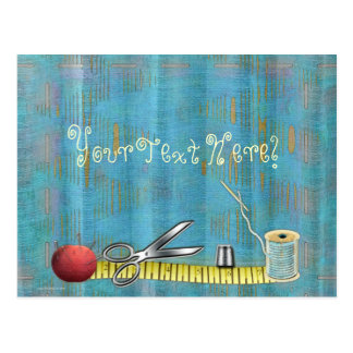 Retro Sewing Tools Postcard