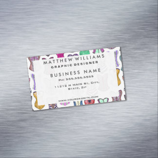 Retro Sexy Colorful Girly Corsets Pattern Magnetic Business Card