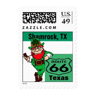Retro Shamrock Texas Green Irish Route 66 Vintage Postage