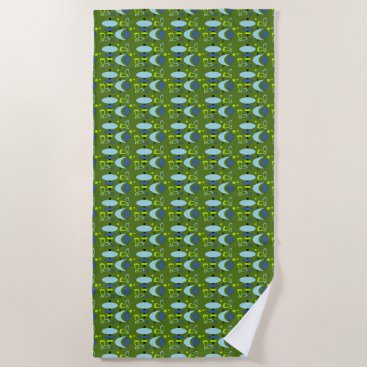 Beach Themed Retro Shapes Beach Towel