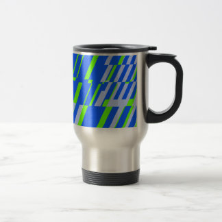 Retro Shatter Square Green Blue Travel Mug