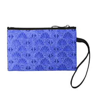 Retro Shells Blue Bagettes Travel Key Coin Clutch Coin Wallets