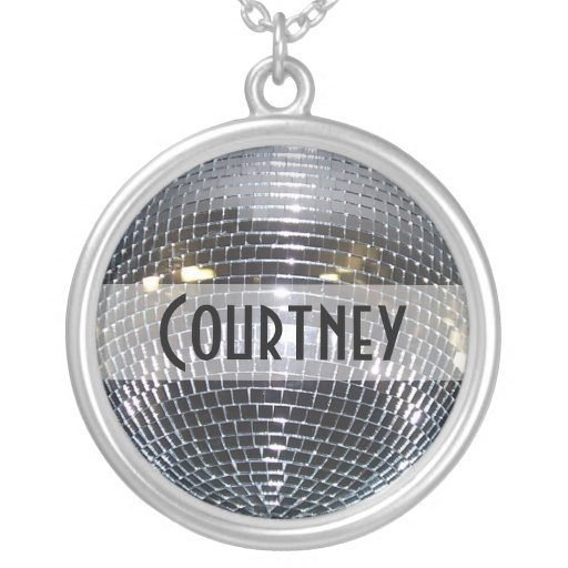 Retro Shiny Silver Disco Ball Custom Name Personalized Necklace
