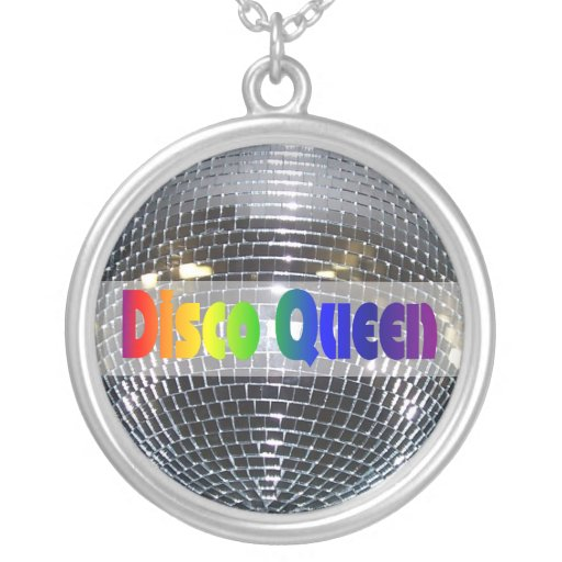 Retro Shiny Silver Disco Ball Rainbow Disco Queen Necklaces