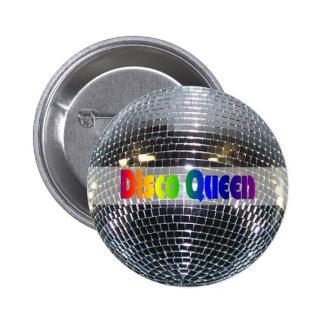 Retro Shiny Silver Mirror Disco Ball Disco Queen 2 Inch Round Button