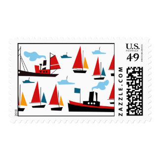 Retro Ships and Boats Postage Stamps