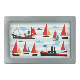 Retro Ships and Boats Striped Belt Buckle