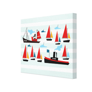 Retro Ships and Boats Striped Canvas Print