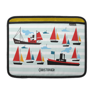 Retro Ships and Boats Striped MacBook Air Sleeve