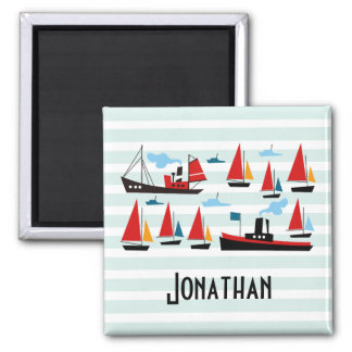 Retro Ships and Boats Striped Magnet