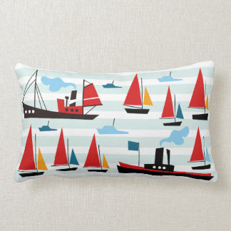 Retro Ships and Boats Striped Pillow