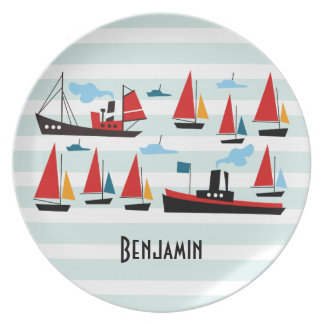Retro Ships and Boats Striped Plate