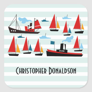 Retro Ships and Boats Striped Stickers