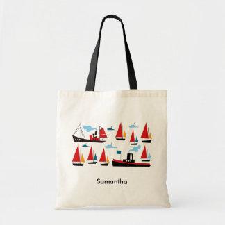 Retro Ships Boats Tote Bag