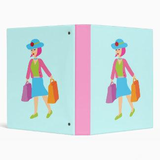 Retro Shopping Girl 3 Ring Binders