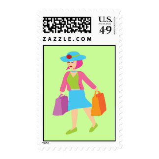 Retro Shopping Girl Postage Stamp
