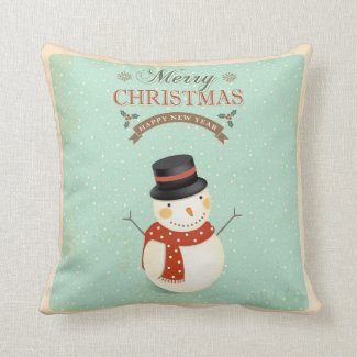 Retro Showmen Happy New Year Merry Christmas Throw Pillow