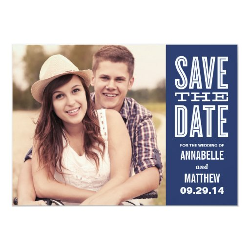 Retro Side Strip Save the Date Announcement
