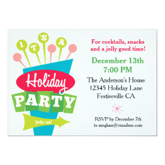 Retro Sign Holiday Party 5x7 Paper Invitation Card