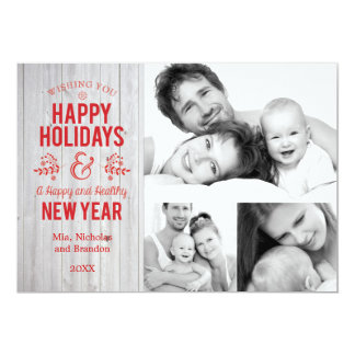 Retro Sign in Rustic Wood Happy Holidays Card