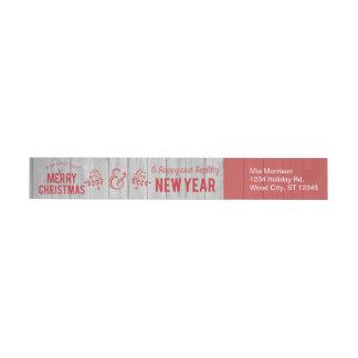 Retro Sign in Rustic Wood Merry Christmas Label Wraparound Return Address Label