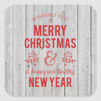 Retro Sign in Rustic Wood Merry Christmas Sticker
