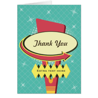 Retro Sign Thank You Stationery Note Card